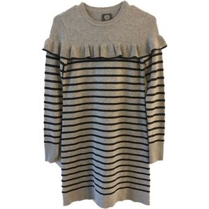 Vince Camuto NWOT striped ruffle sweater dress xs